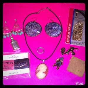 2 Earrings,1 Cameo Necklace,1 Eyeglass holder,Pins